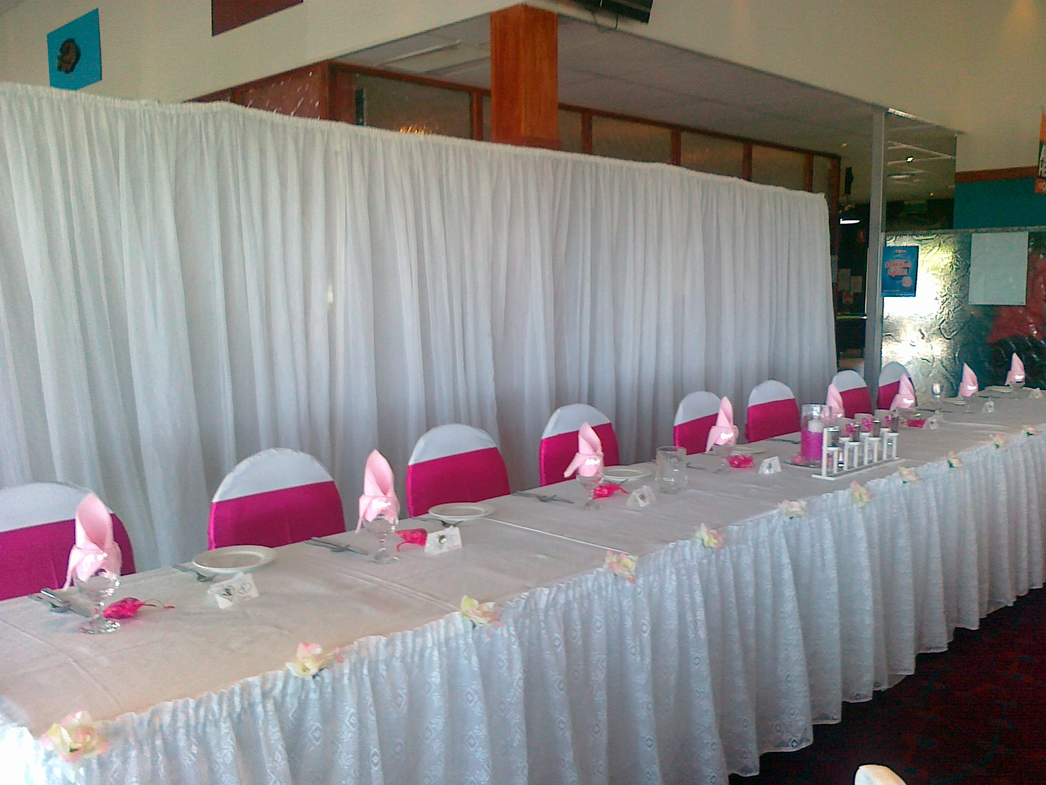 Wedding decoration hire complete party and marquee hire brisbane bridal backdrop 6m junglespirit Choice Image